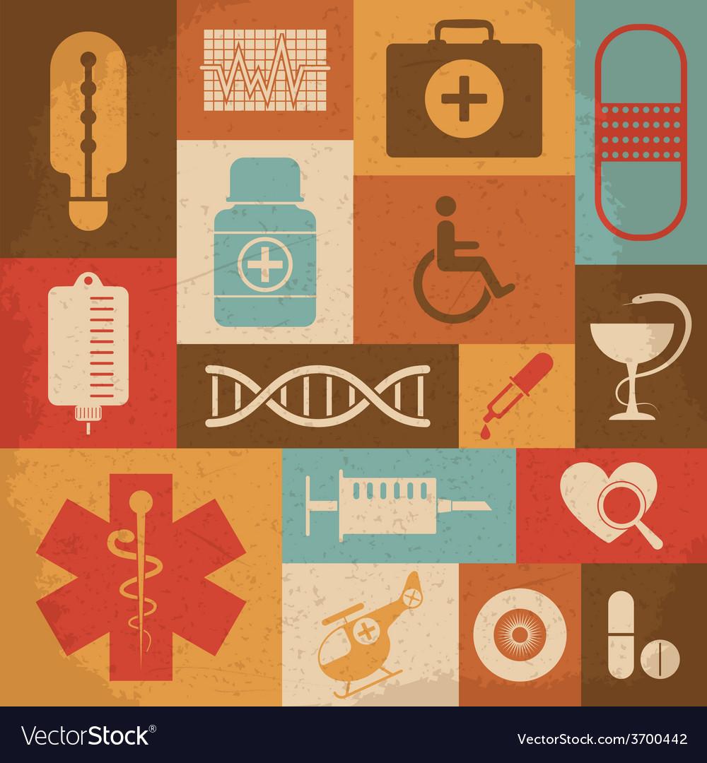 Retro medical icons vector | Price: 1 Credit (USD $1)