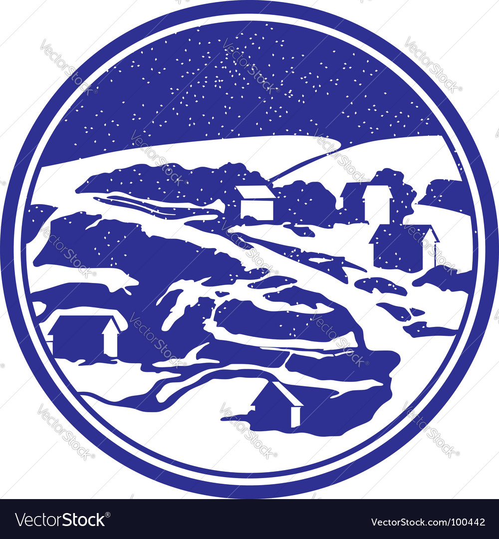 Round vignette with winter landscape vector | Price: 1 Credit (USD $1)