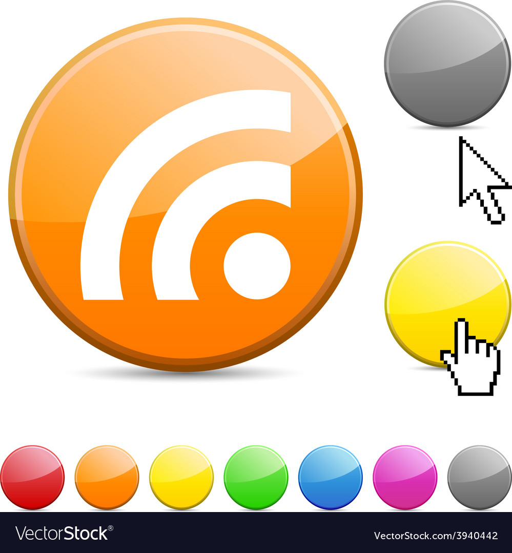 Rss glossy button vector | Price: 1 Credit (USD $1)