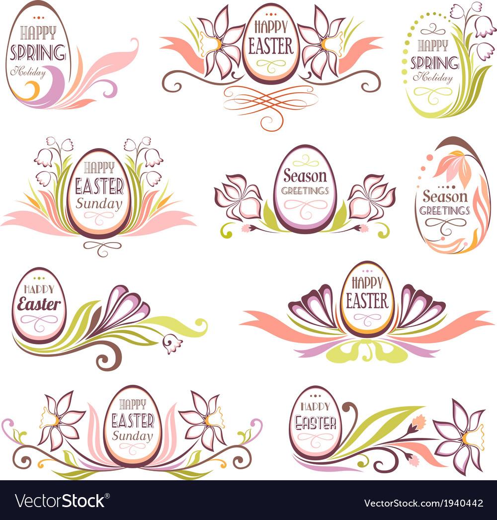 Set of easter floral frames vector | Price: 1 Credit (USD $1)