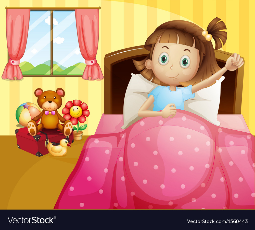 A girl lying in her bed with a pink blanket vector | Price: 3 Credit (USD $3)
