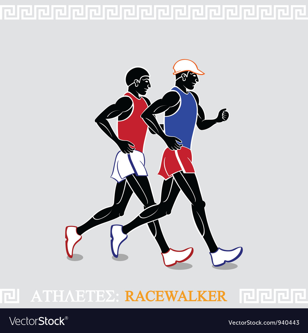 Athlete racewalkers vector | Price: 3 Credit (USD $3)