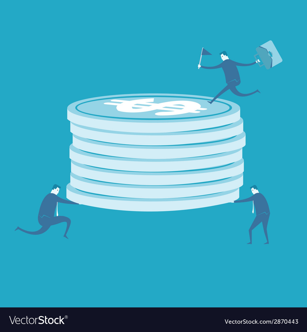 Business man lift coins vector | Price: 1 Credit (USD $1)