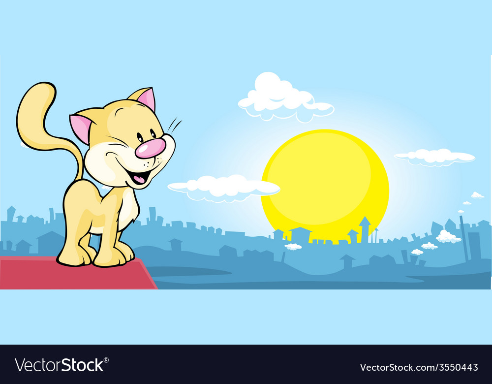 Cat is on the roof and watching the city at sunset vector | Price: 1 Credit (USD $1)