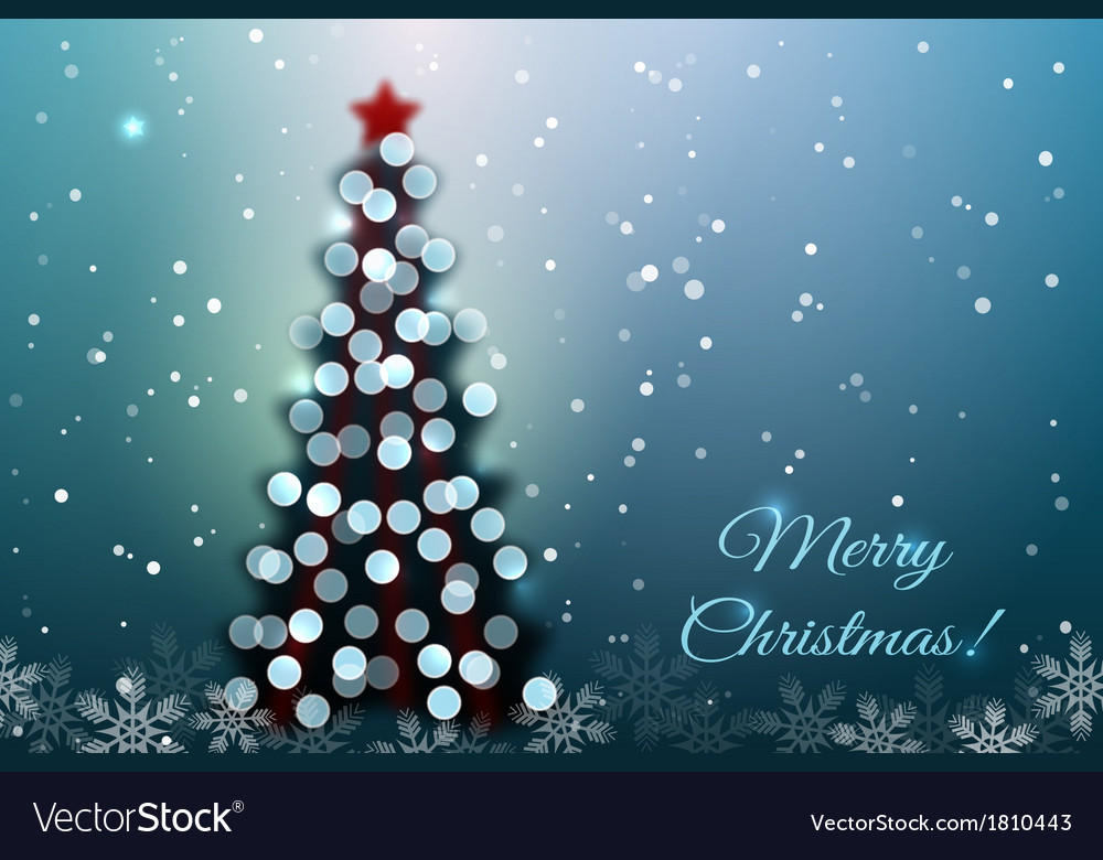 Christmas tree with bokeh lights vector | Price: 1 Credit (USD $1)