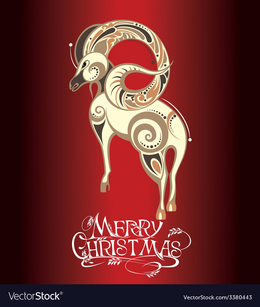 Christmas with sheep vector | Price: 3 Credit (USD $3)