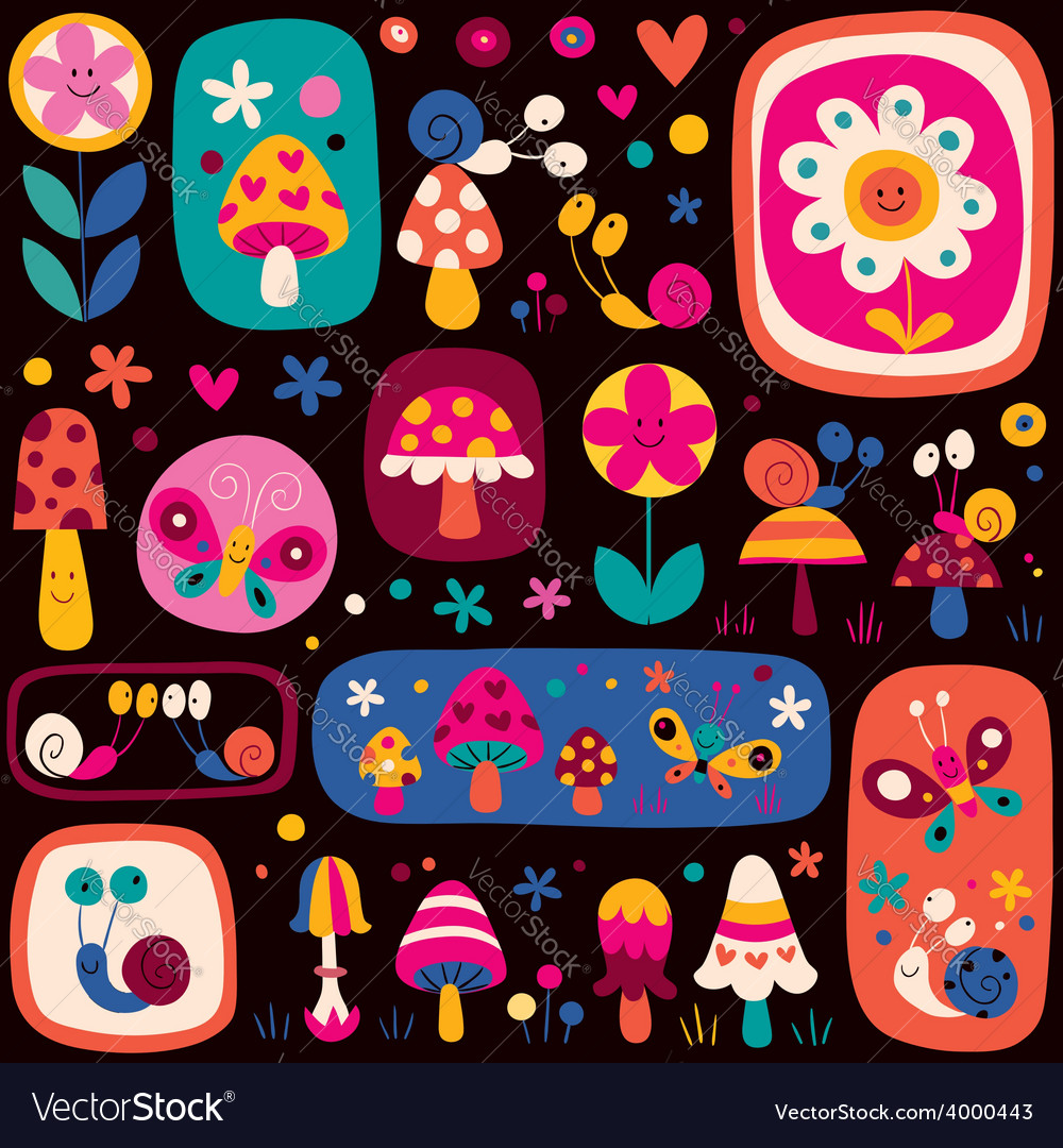 Cute nature pattern vector | Price: 1 Credit (USD $1)