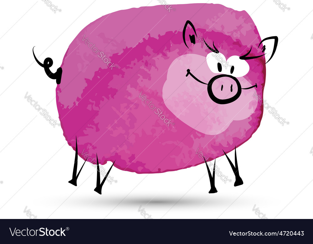 Funny pig watercolor sketch for your design vector | Price: 1 Credit (USD $1)