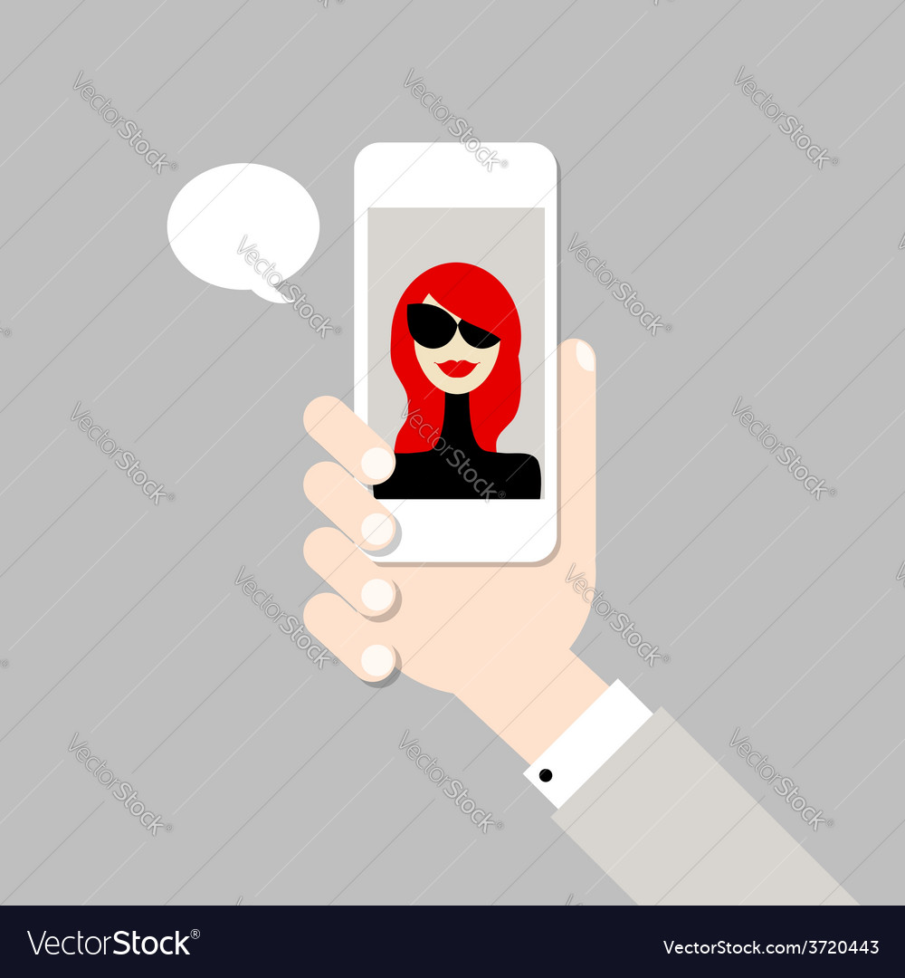 Hand with mobile phone vector | Price: 1 Credit (USD $1)