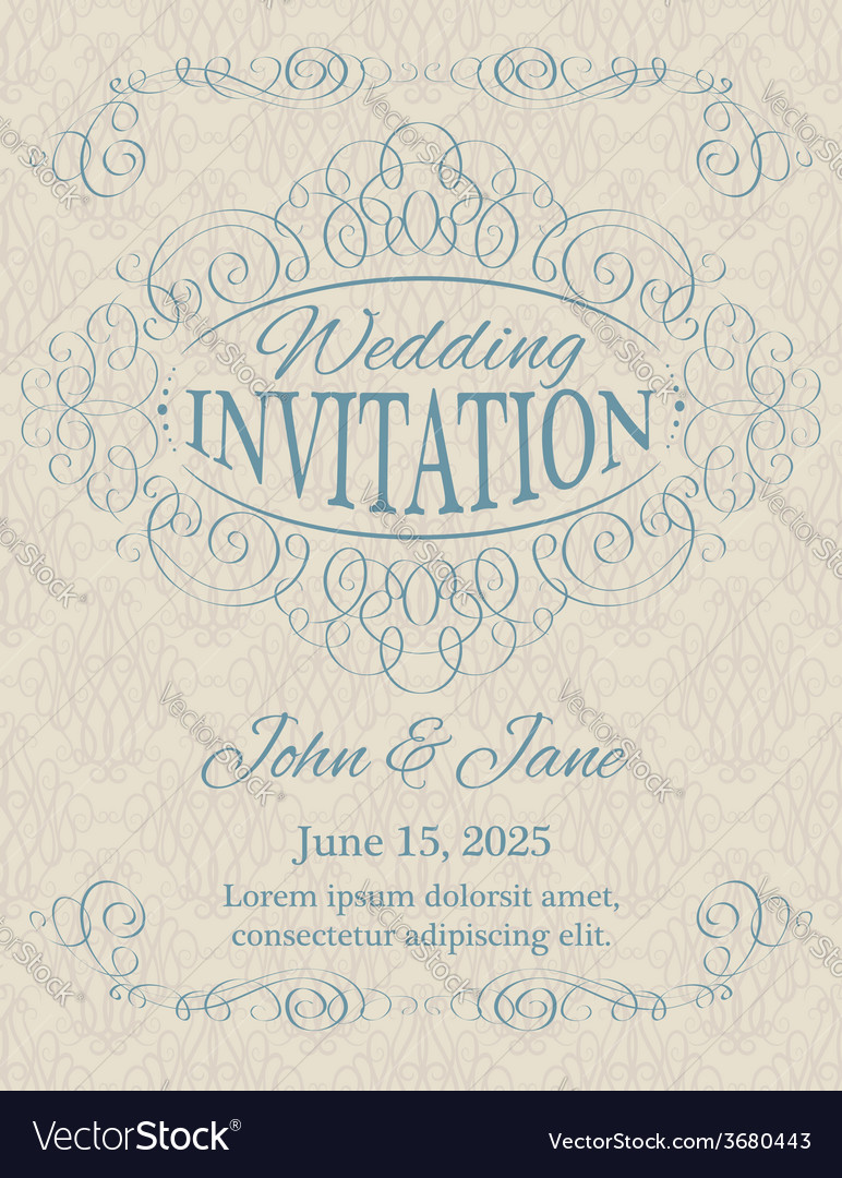 Invitation with calligraphy design elements in vector | Price: 1 Credit (USD $1)