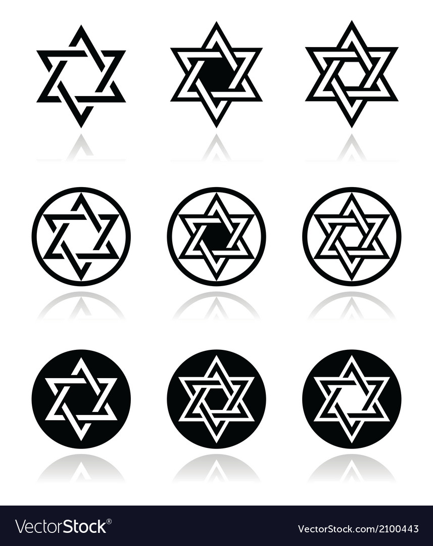 Jewish star of david icons set isolated on white vector | Price: 1 Credit (USD $1)