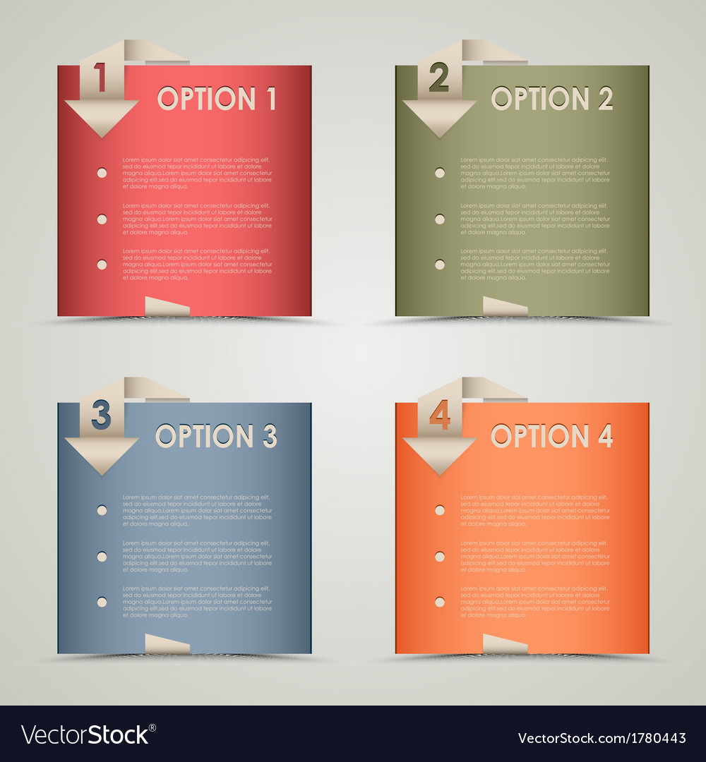 Modern origami colored options background vector | Price: 1 Credit (USD $1)