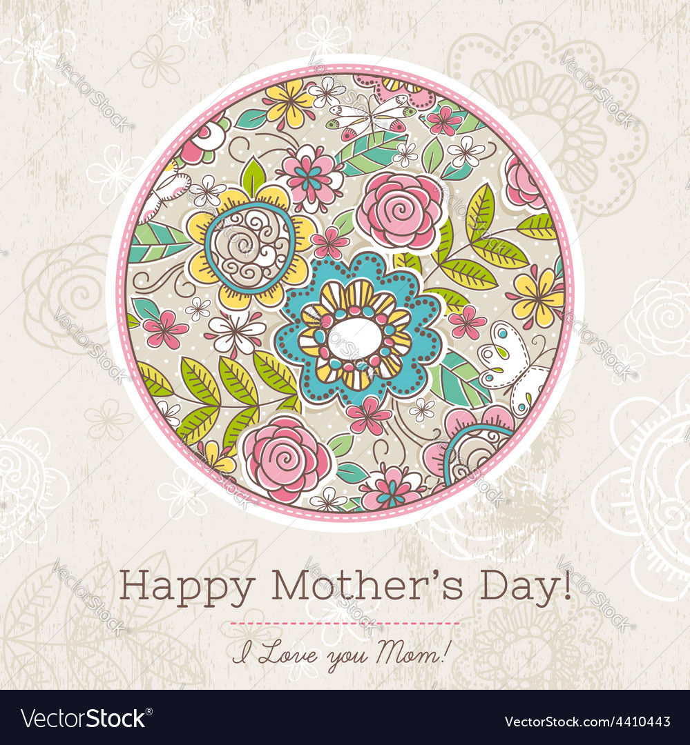 Mothers day card with big round of spring flowers vector | Price: 1 Credit (USD $1)