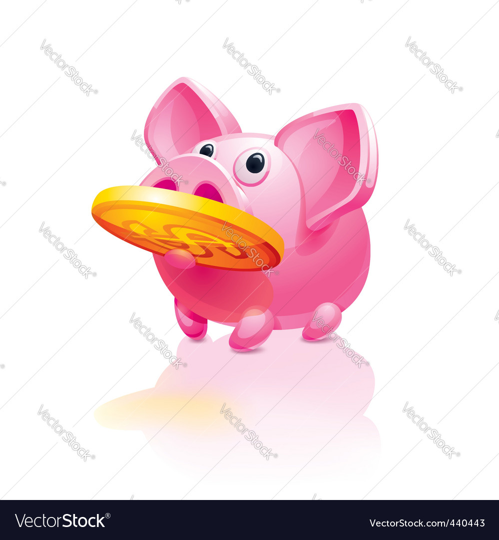 Piggy bank with a coin vector | Price: 3 Credit (USD $3)