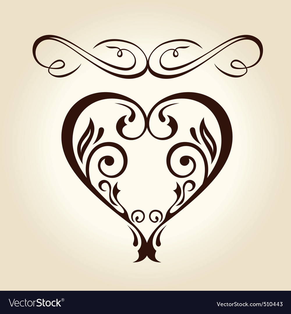 Retro ornament calligraphic curves elements vector | Price: 1 Credit (USD $1)