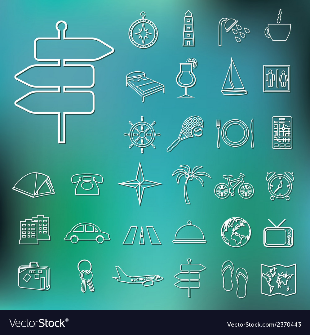 Travel and accommodation outline icons vector | Price: 1 Credit (USD $1)