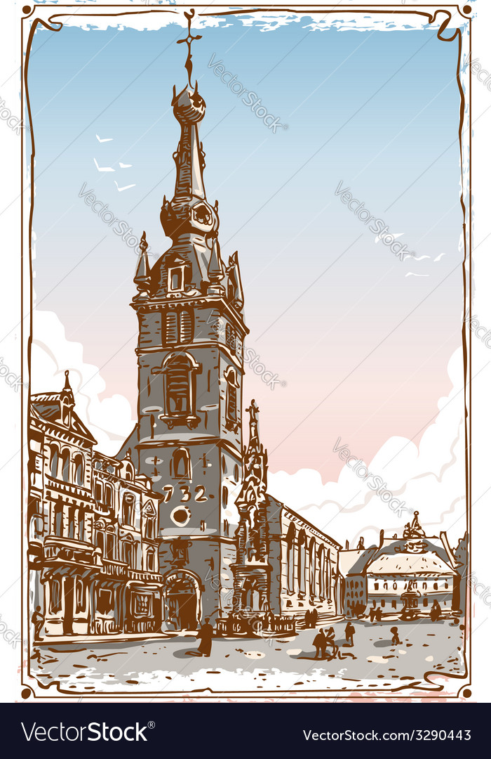 Vintage view of chimay church place in belgium vector | Price: 5 Credit (USD $5)