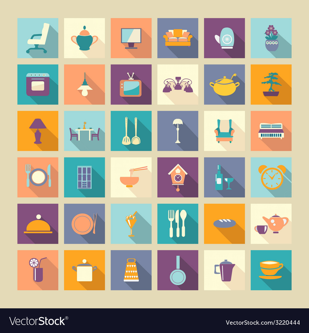 A set of home related icons elements- vector | Price: 1 Credit (USD $1)