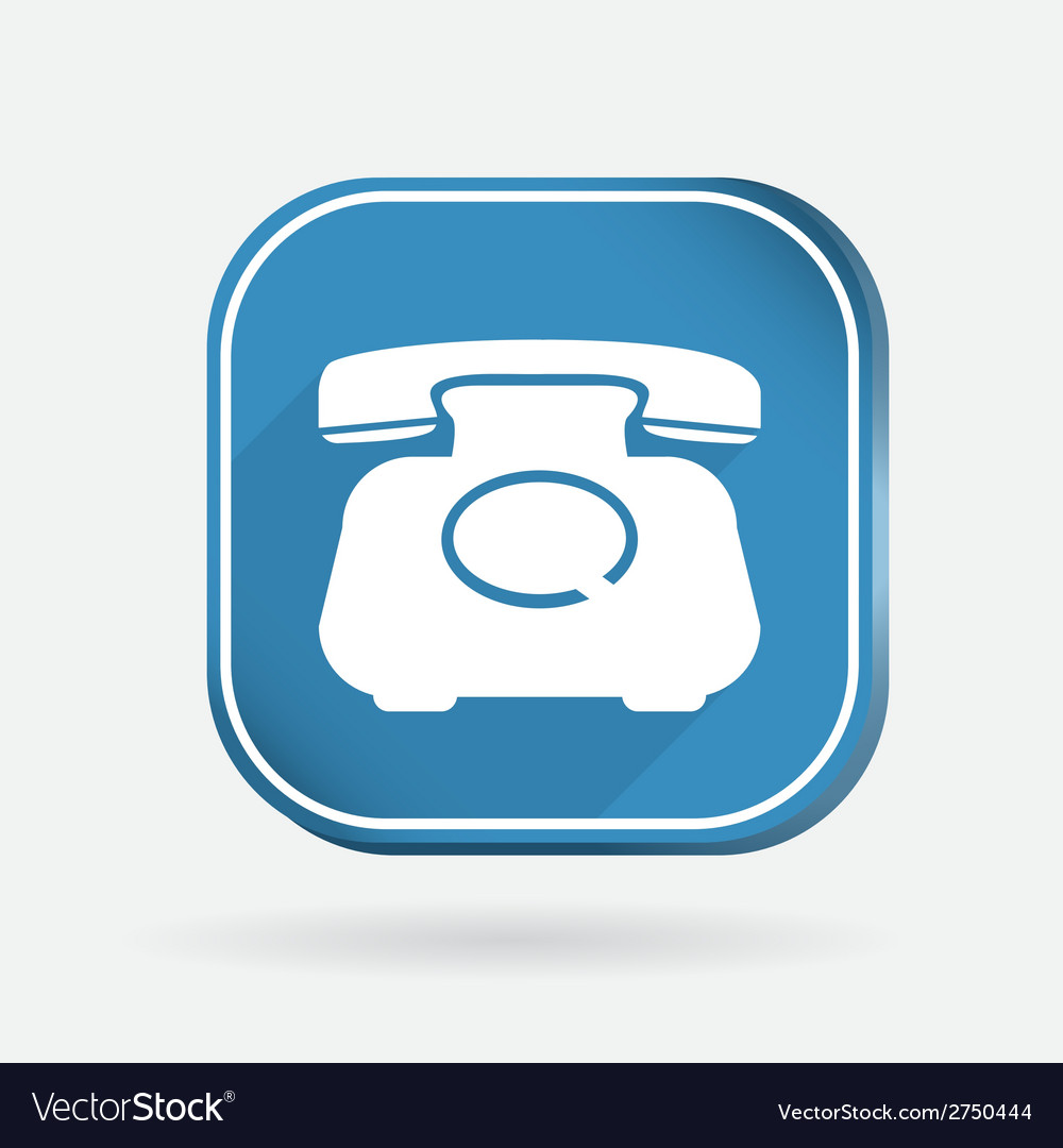 Classic retro phone color square icon vector | Price: 1 Credit (USD $1)