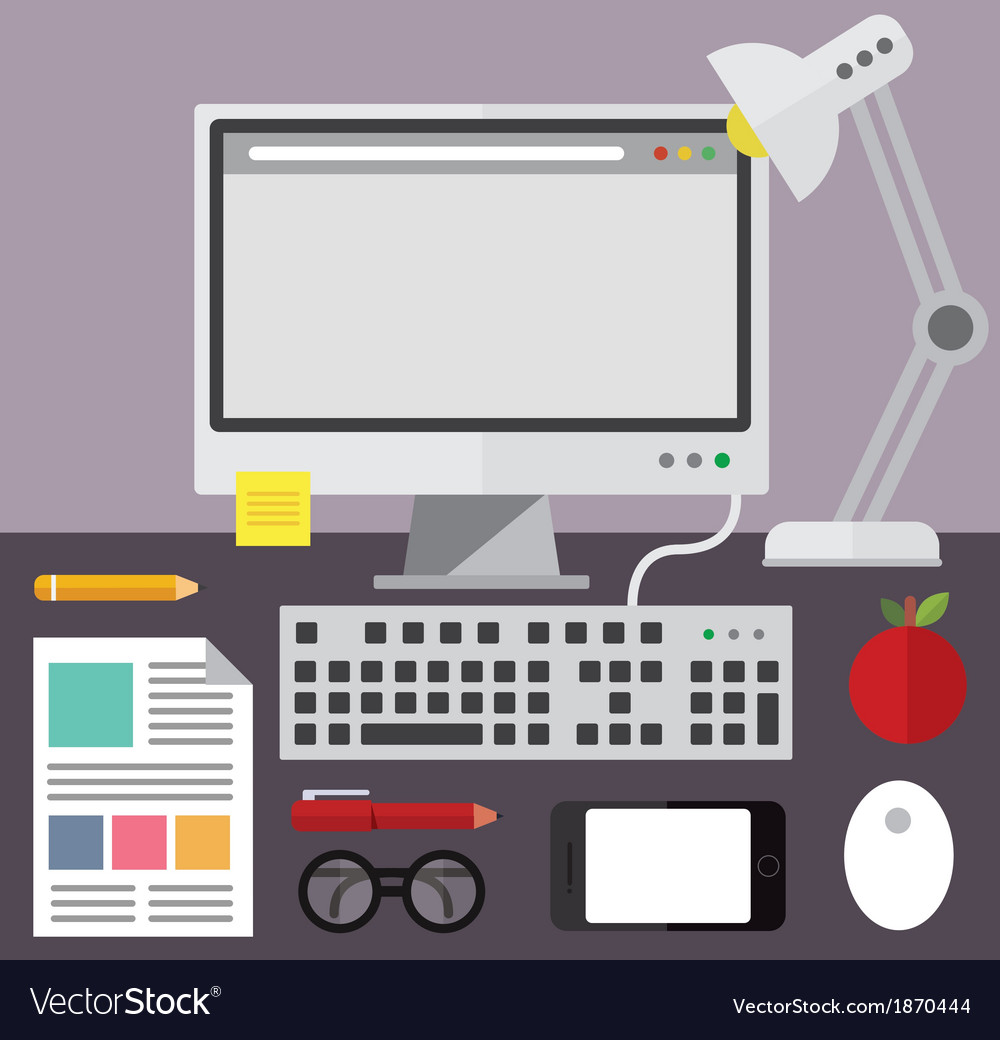 Desktop computer and desk objects vector | Price: 1 Credit (USD $1)