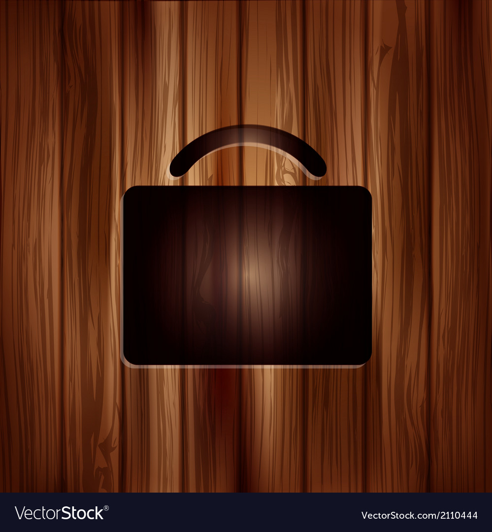 Portfolio web icon bag symbol wooden texture vector | Price: 1 Credit (USD $1)