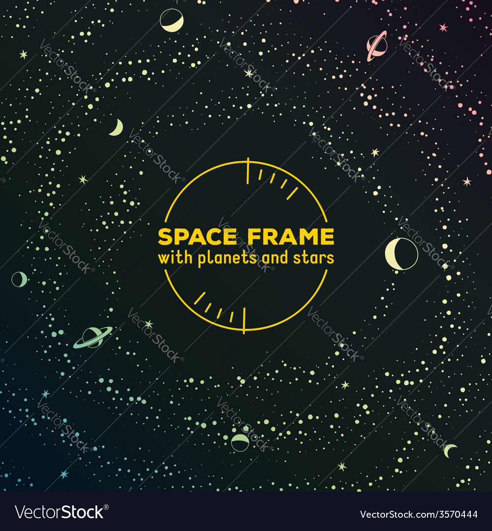 Retro futuristic frame with space stars and vector | Price: 1 Credit (USD $1)