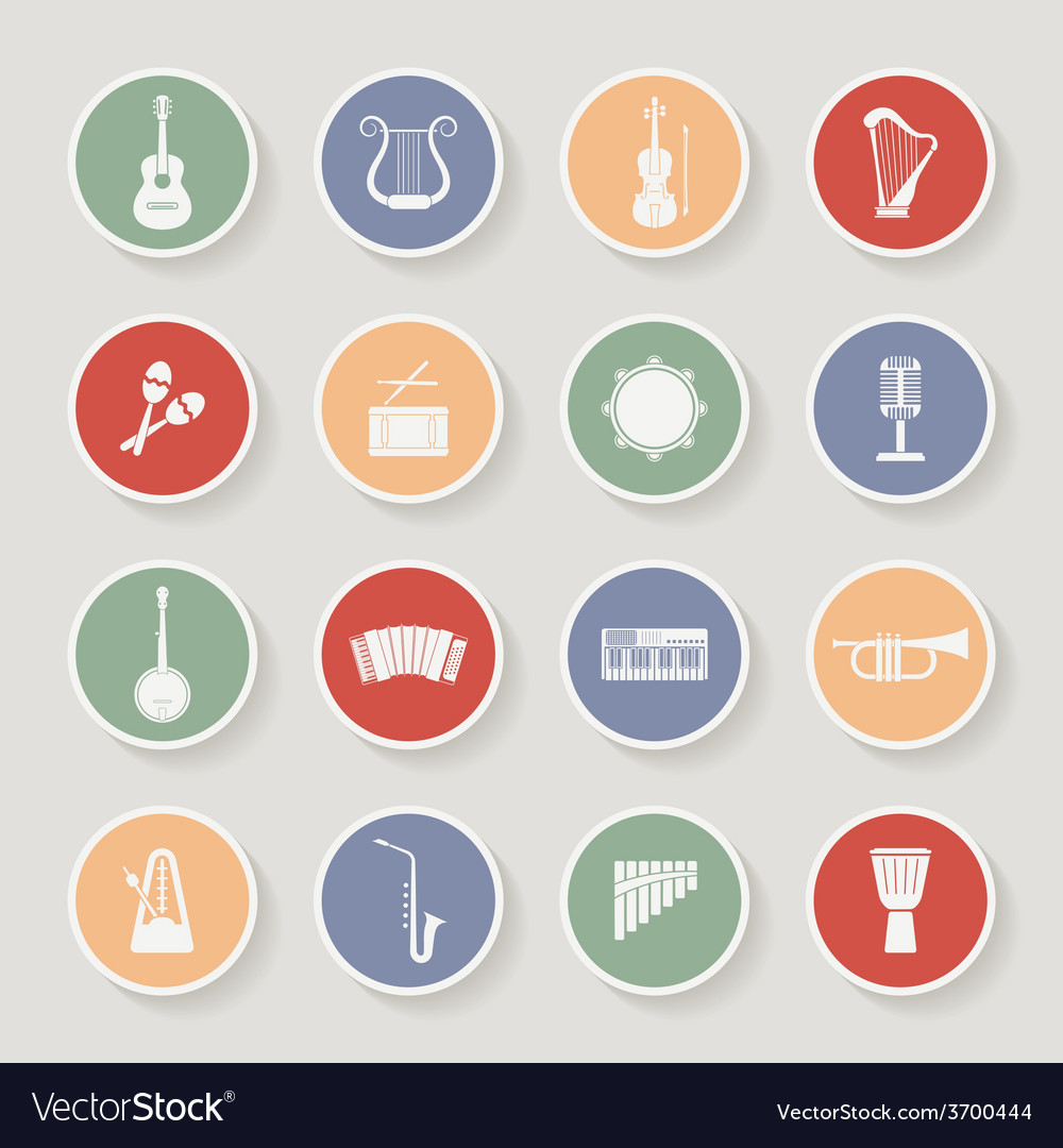 Round musical instruments icons vector | Price: 1 Credit (USD $1)