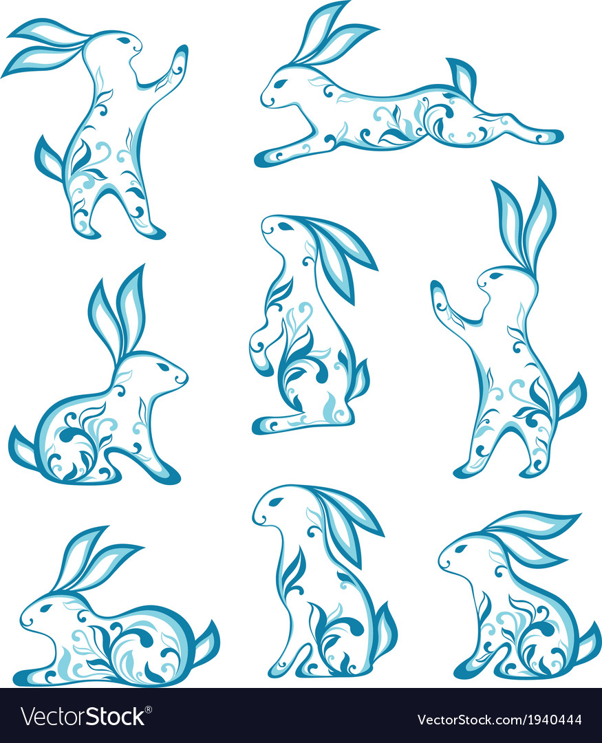 Set of easter ornamental rabbits vector | Price: 1 Credit (USD $1)