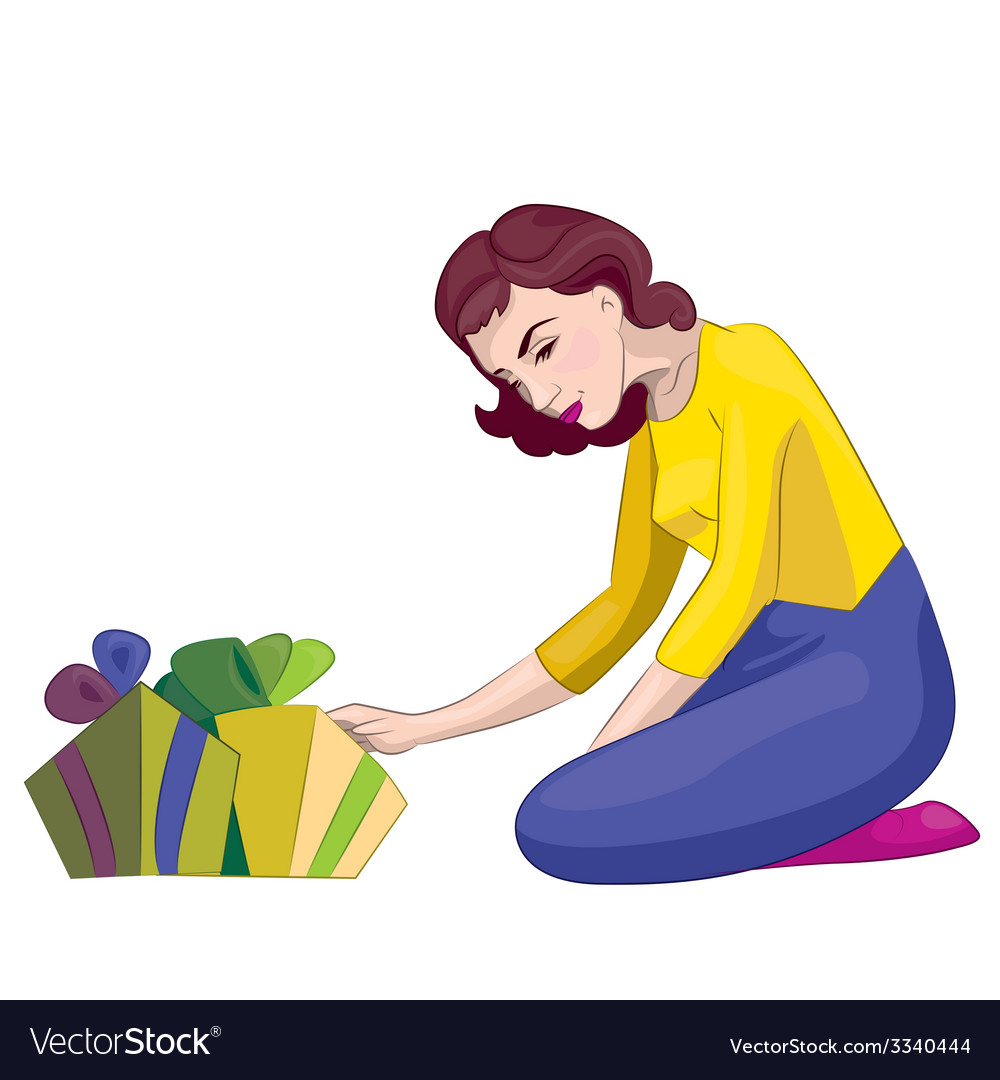 Women with gifts vector | Price: 1 Credit (USD $1)