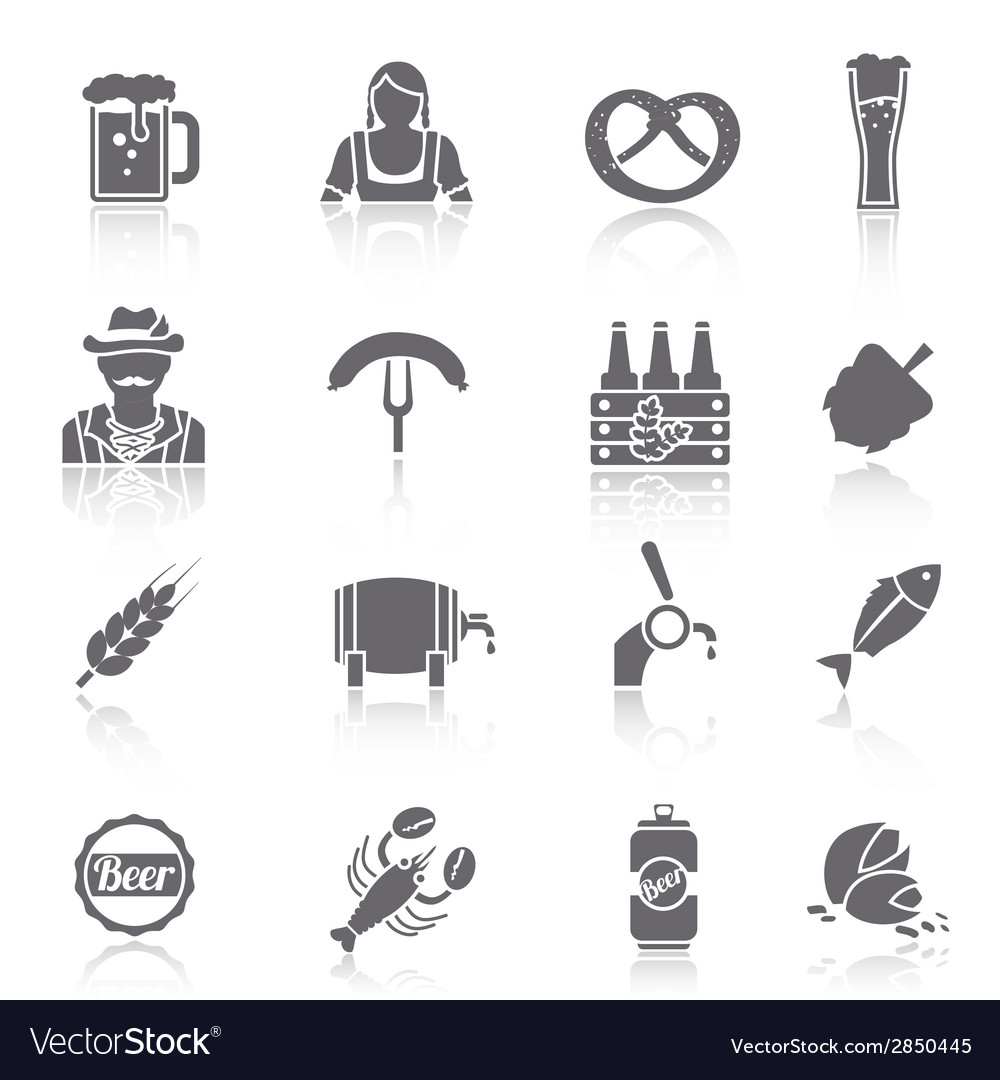 Beer icons set black vector | Price: 1 Credit (USD $1)