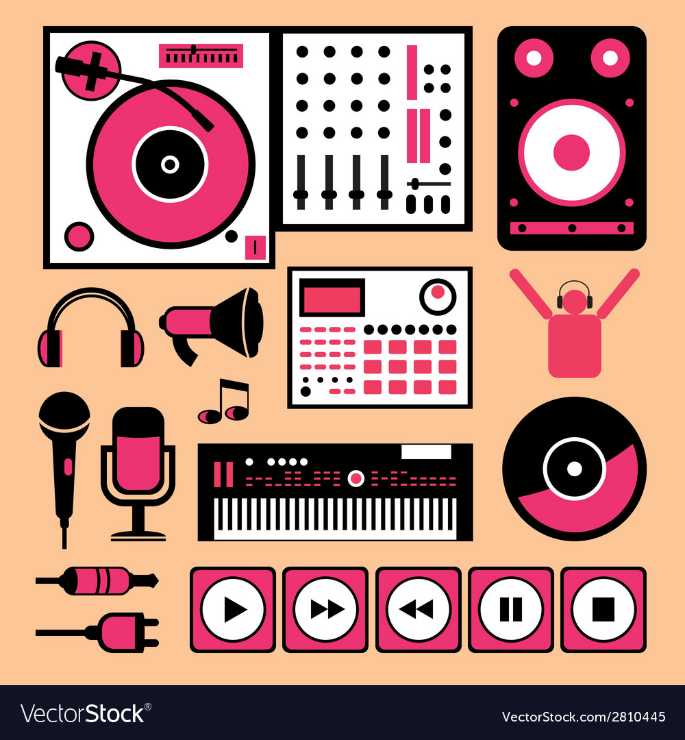 Colorful dj music set vector | Price: 1 Credit (USD $1)
