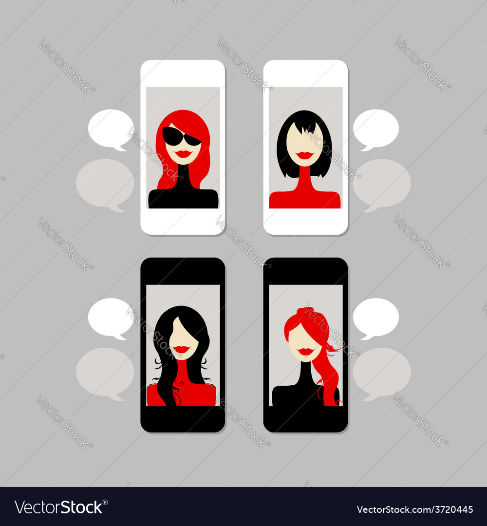 Female face on mobile phone vector | Price: 1 Credit (USD $1)
