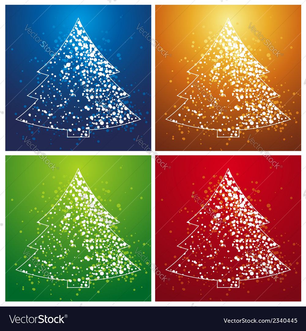 Four christmas trees vector | Price: 1 Credit (USD $1)