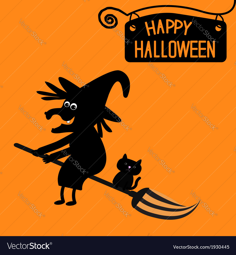 Happy halloween witch and cat card vector | Price: 1 Credit (USD $1)