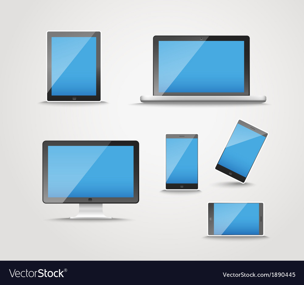 Modern digital device collection vector | Price: 1 Credit (USD $1)