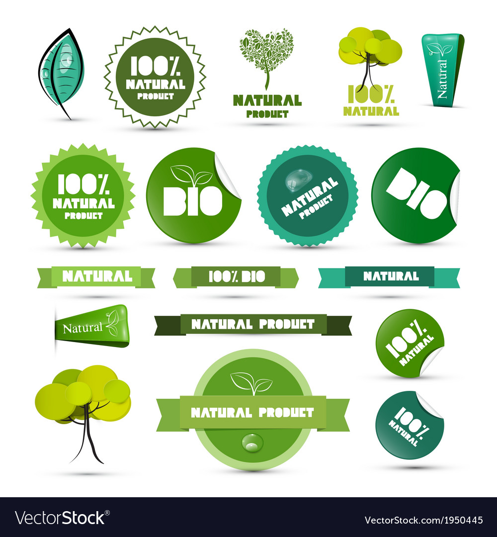 Natural product green labels  tags  stickers set vector