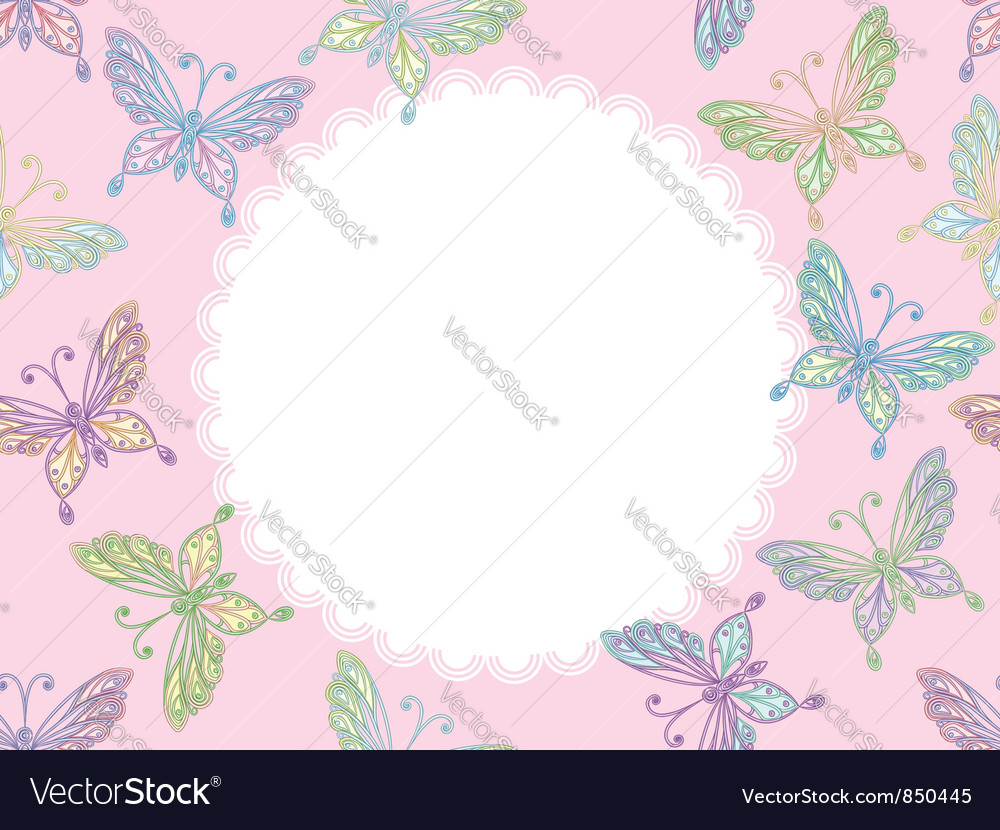 Pink floral lace frame with butterflies vector | Price: 1 Credit (USD $1)