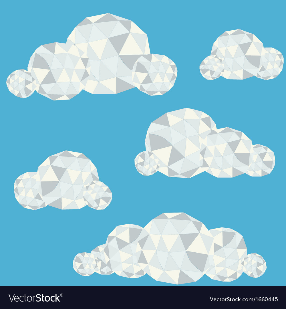 Polygonal clouds in summer sky vector | Price: 1 Credit (USD $1)