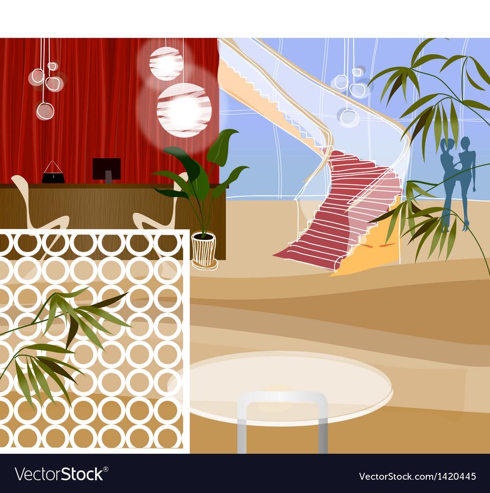 Reception desk at end of corridor vector | Price: 1 Credit (USD $1)