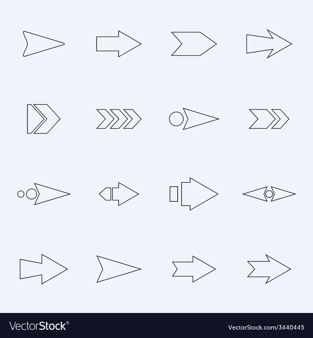 Set hollow arrows on a light background vector | Price: 1 Credit (USD $1)