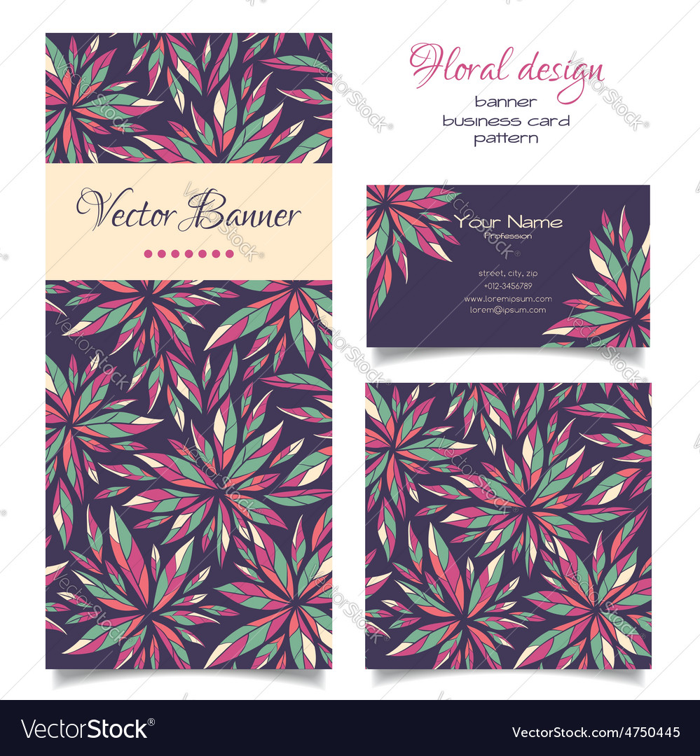 Set of banner business card and pattern vector | Price: 1 Credit (USD $1)
