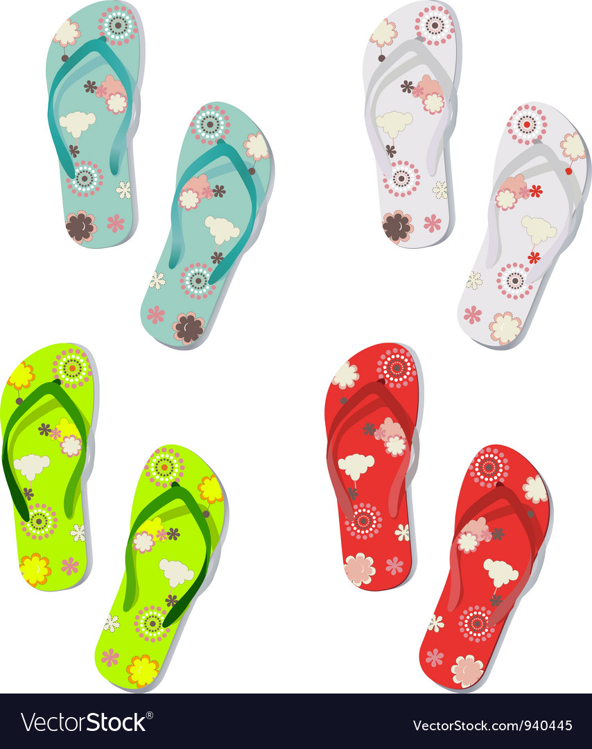 Set of colorful fun flip flops vector | Price: 1 Credit (USD $1)