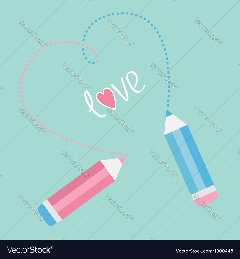 Two pencils drawing dash heart love card vector | Price: 1 Credit (USD $1)