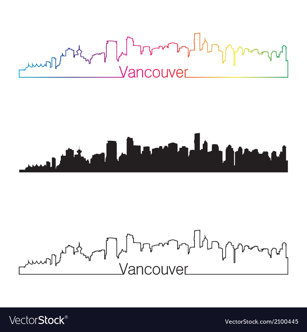 Vancouver skyline linear style with rainbow vector | Price: 1 Credit (USD $1)