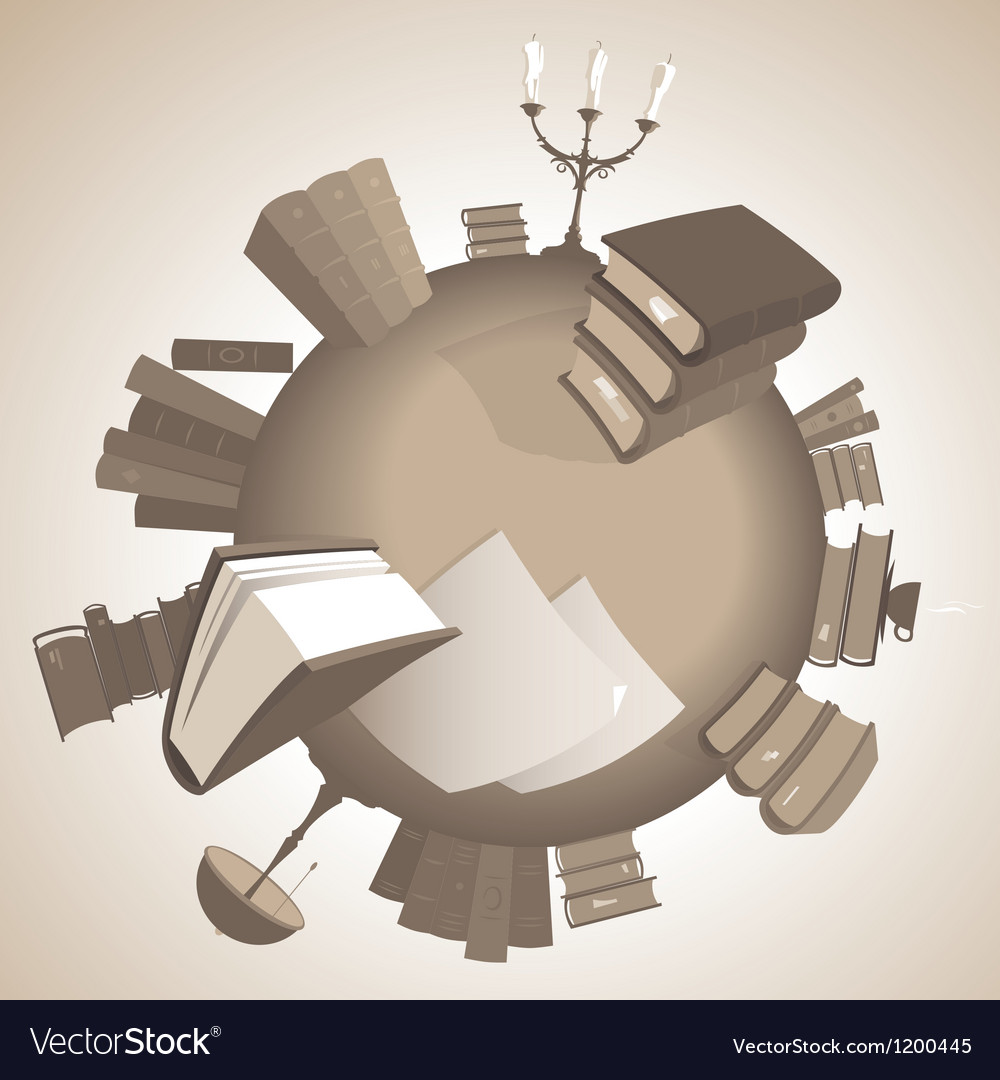 World of knowledge in sepia vector | Price: 1 Credit (USD $1)