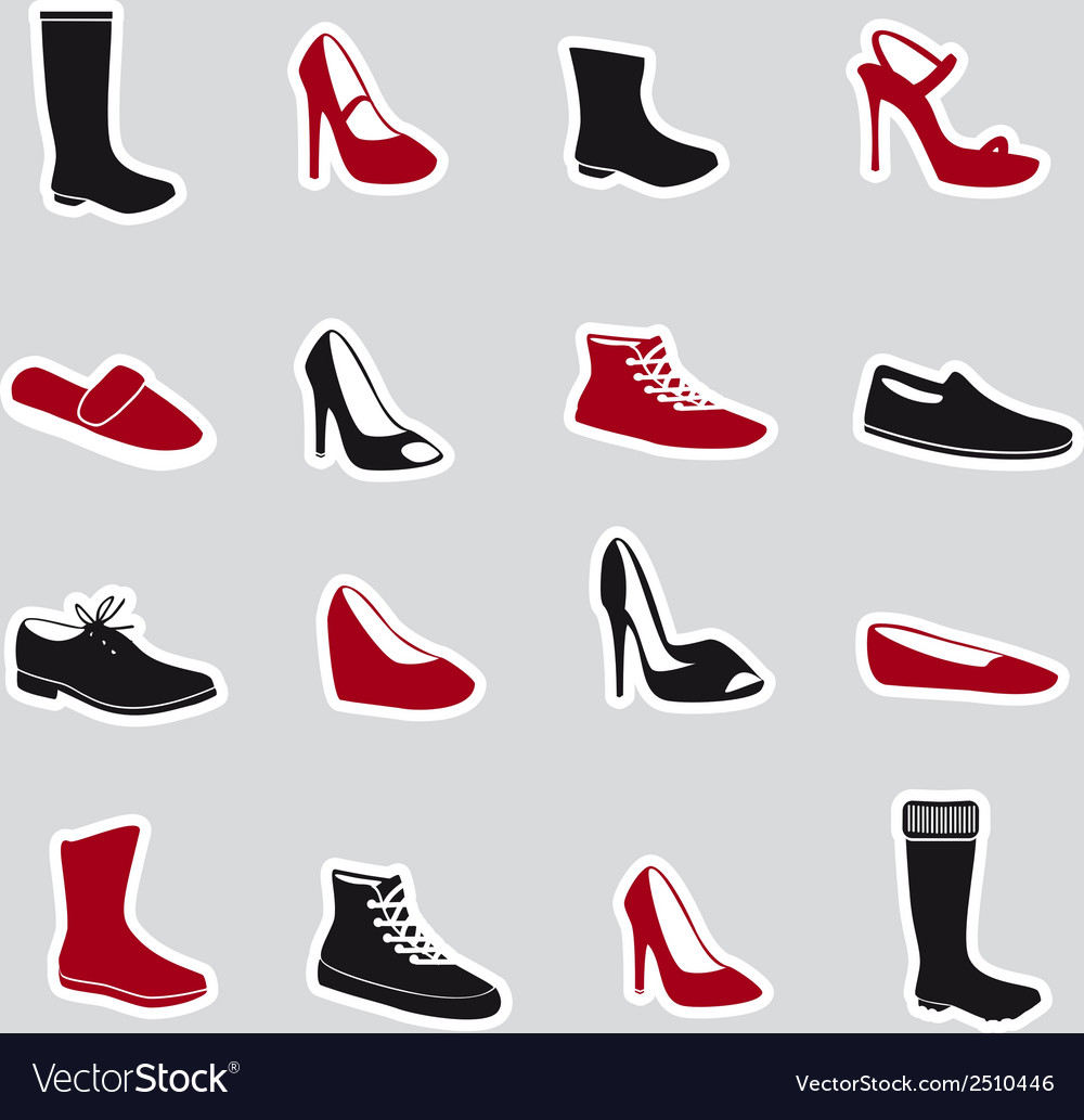Boots and shoes stickers eps10 vector | Price: 1 Credit (USD $1)