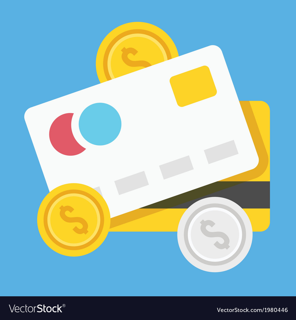 Credit cards and coins icon vector | Price: 1 Credit (USD $1)