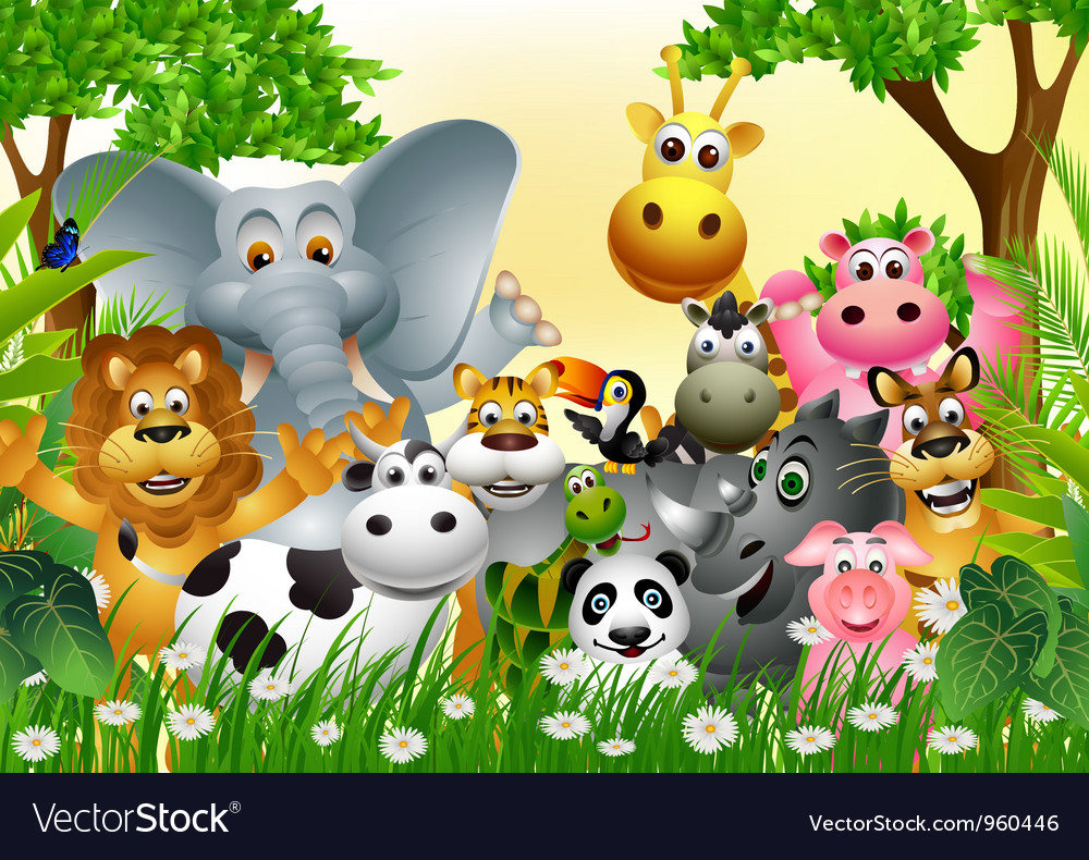 Funny animal cartoon in the jungle vector | Price: 3 Credit (USD $3)