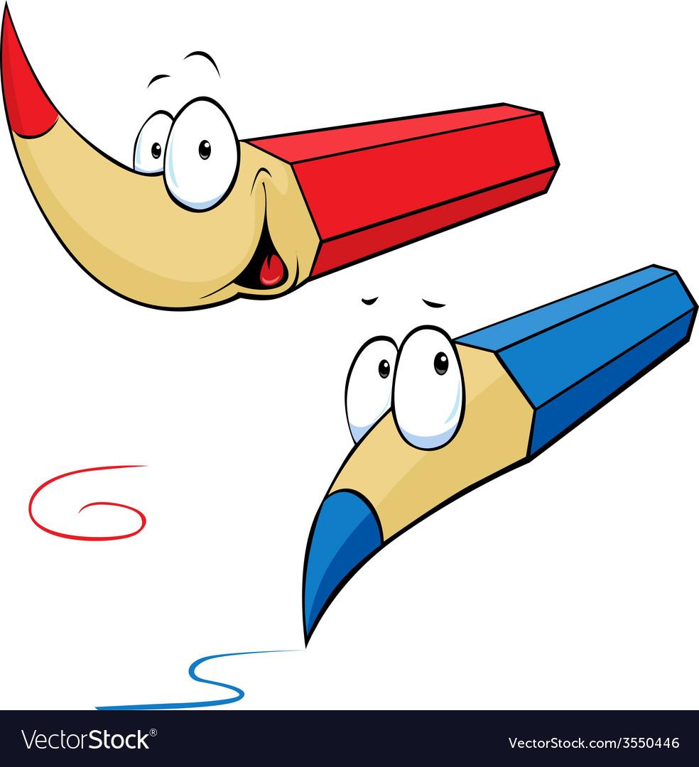 Funny colored pencils cartoon vector | Price: 1 Credit (USD $1)