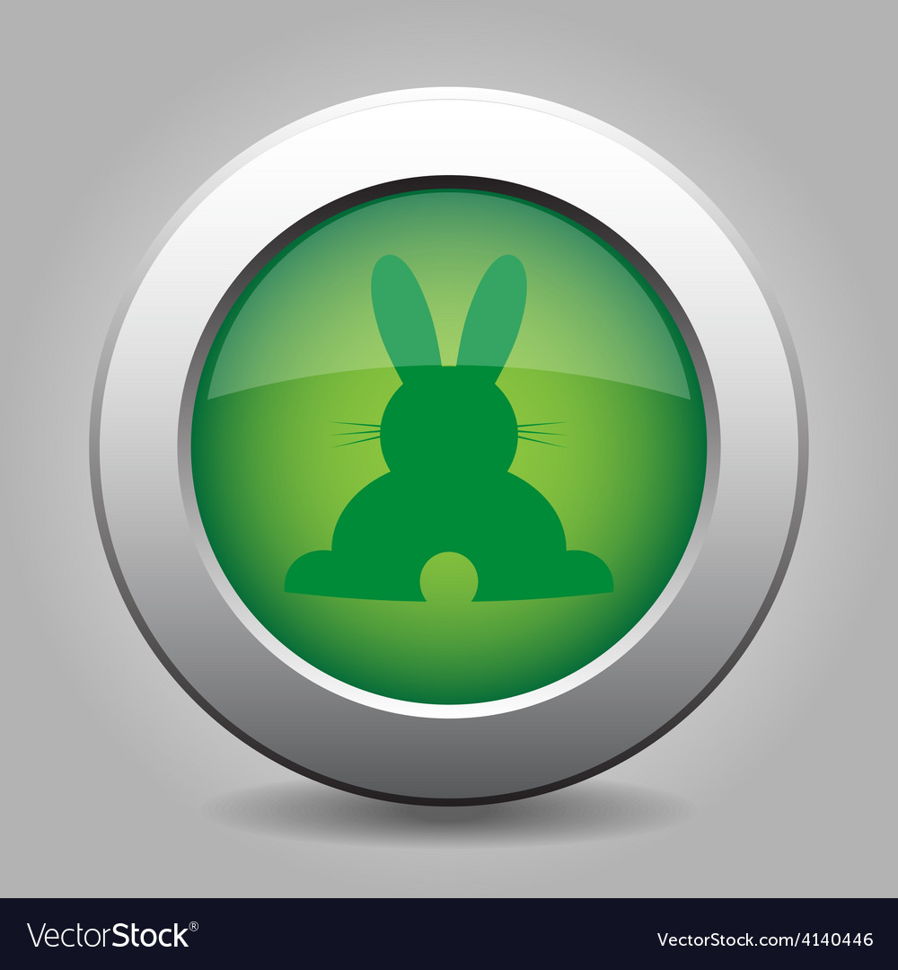 Green metal button with back easter bunny vector | Price: 1 Credit (USD $1)